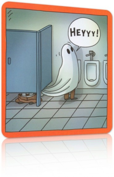 Halloween Card: Ghost at Urinal