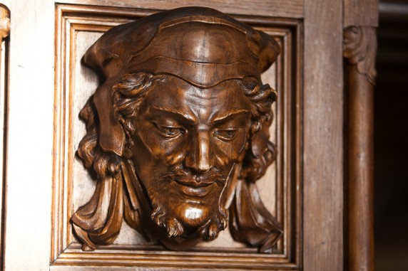 Wood Carving on the Side of the Fireplace in the Ashford Castle Reading Room, Ireland