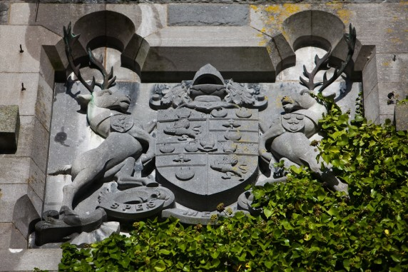 Coat of Arms High Up on the Back Castle Wall, Ashford Castle, Ireland