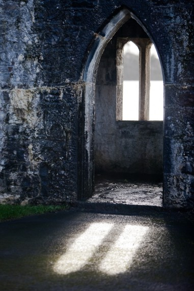 Peering through the Window in the Back Tower Wall, Ashford Castle, Ireland
