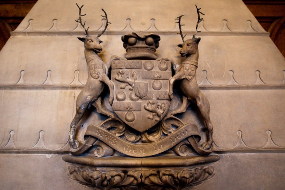 Coat of Arms over the Fireplace Mantle in the Sitting Room of the Ashford Castle, Ireland