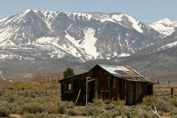 Abandoned Shack in a Meadow beneath Snow-Capped Nevada Mountains