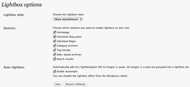 Lightbox M Settings Screenshot