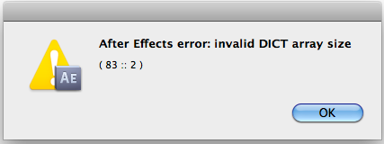 Adobe After Effects 10.0 Error Message