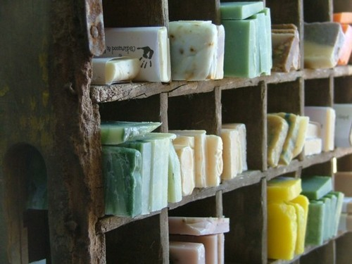 Handmade Soaps in Old Wooden Cabinet