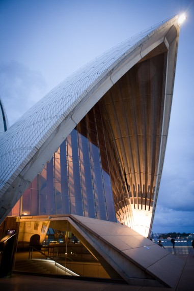 Single Sail of the Sydney Opera House at Night