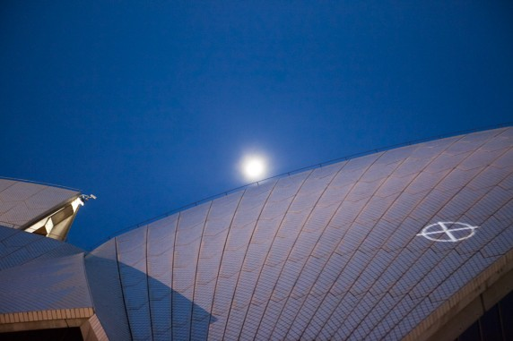 Moon over the Sydney Opera House before Laser Show