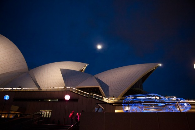 Moon over the Sydney Opera House with Car Exhibit