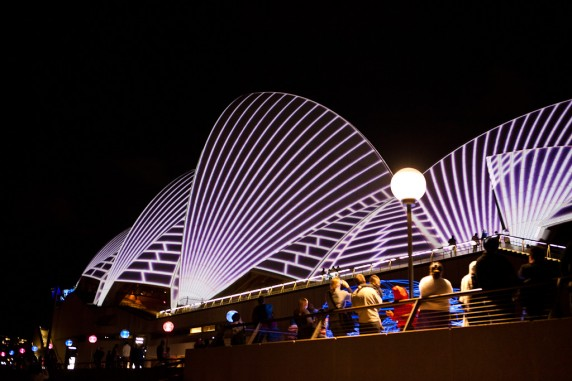 Laser Show Begins on the Sydney Opera House
