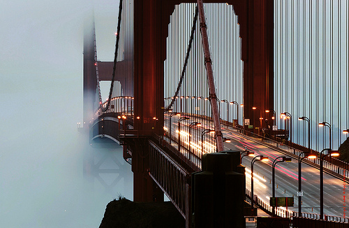 Golden Gate Bridge traffic in fog