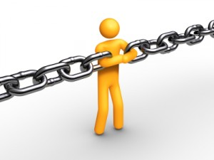 Constraints - plastic person in row of chain