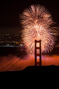Golden Gate Bridge 75th Birthday Fireworks (portrait view)