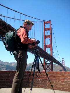 Tim at the Golden Gate Bridge shooting a pano