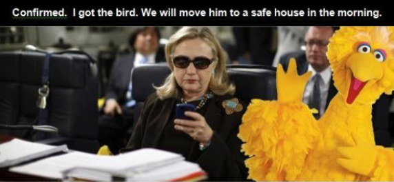 "Big Bird with Hillary Clinton Texting ""Confirmed. I've got the bird. We will move him to a safe house in the morning."""