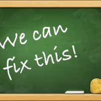 Blackboard (chalkboard): We can fix this