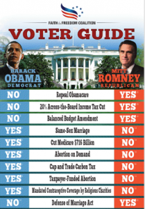 Faith and Freedom Voters Guide Passed Out in Churches