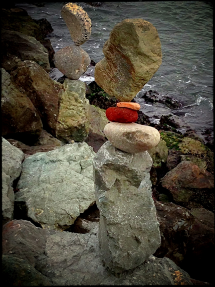Stacking Rocks in Downtown Sausalito