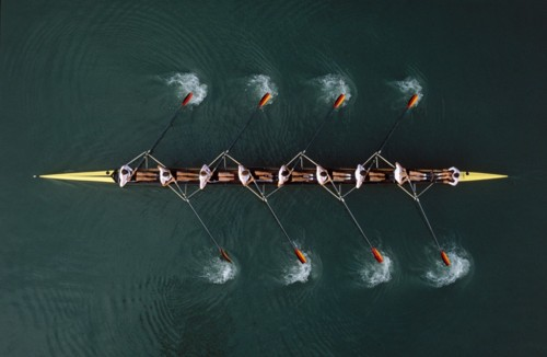 Aerial view of rowers crew