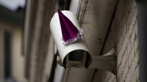 Party Hat on Surveillance Camera for Orwell's Birthday