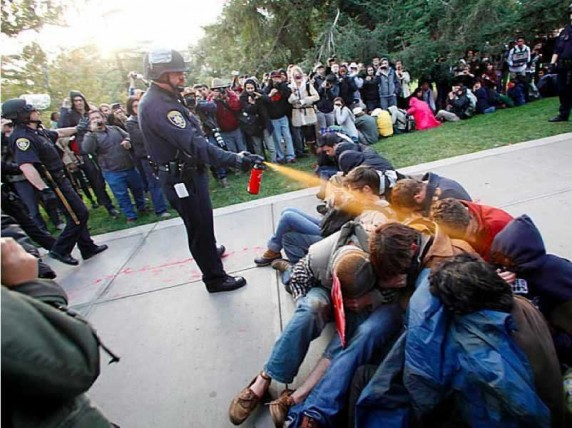 Lt John Pike Hoses Defenseless, Seated UC Davis Students with Pepper Spray